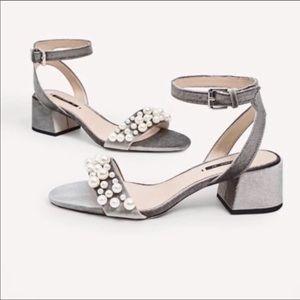 Zara Grey Velour with pearls sandals 37